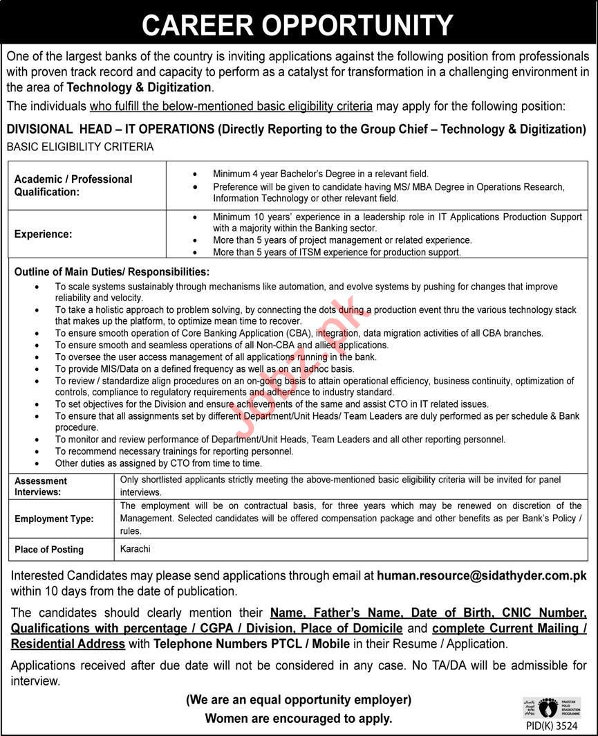 Divisional Head IT Operations Jobs 2020