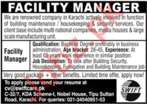 Facility Manager Jobs 2020 in Swiftcare Karachi