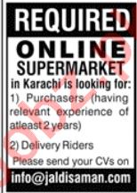 Jaldi Saman Online Supermarket Jobs 2020 in Karachi