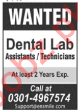 EnSmile Lahore Jobs 2020 for Technicians & Assistants
