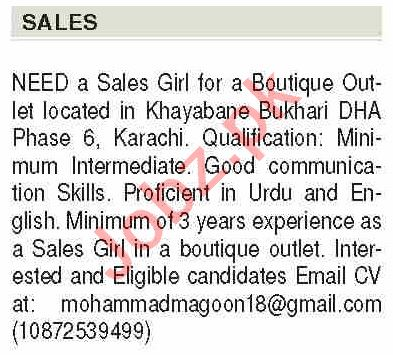 Dawn Sunday Classified Ads 5th April 2020 for Sales Staff