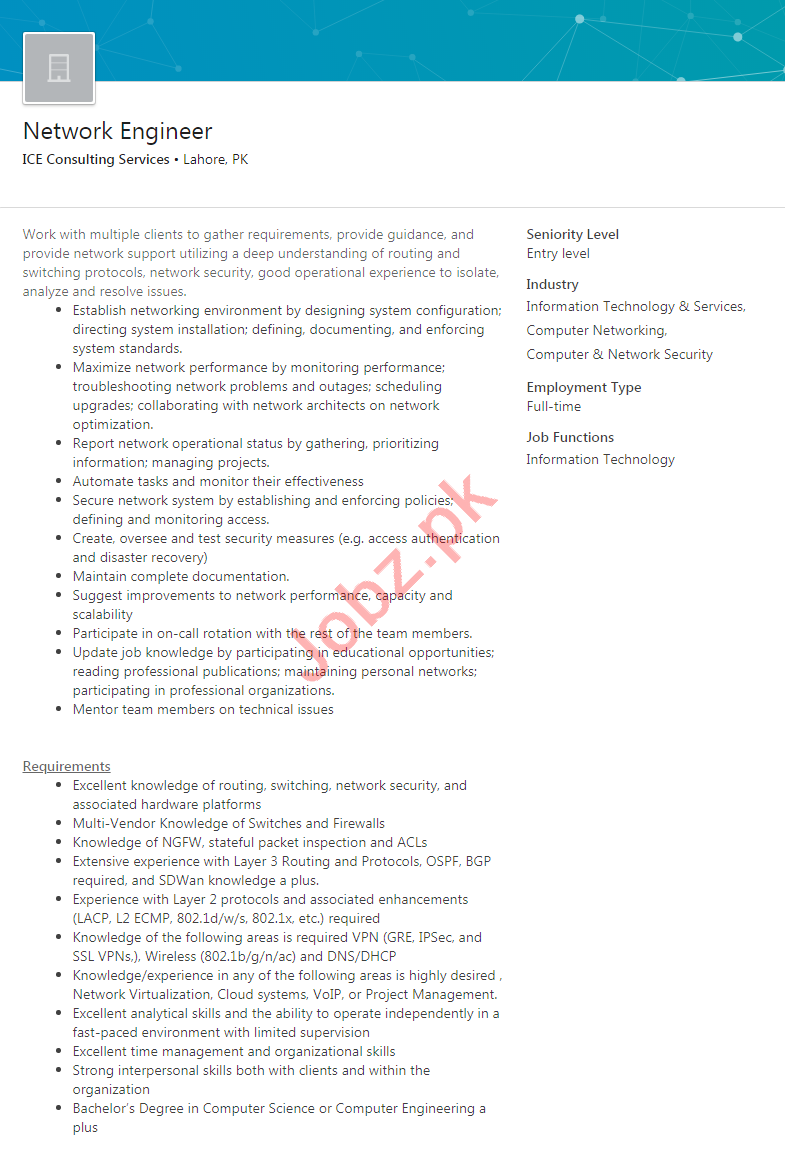 ICE Consulting Services Lahore Jobs 2020 Network Engineer