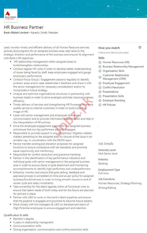 Bank Alfalah Limited Karachi Jobs 2020 HR Business Partner