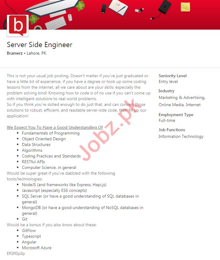 Bramerz Lahore Jobs 2020 for Server Side Engineer