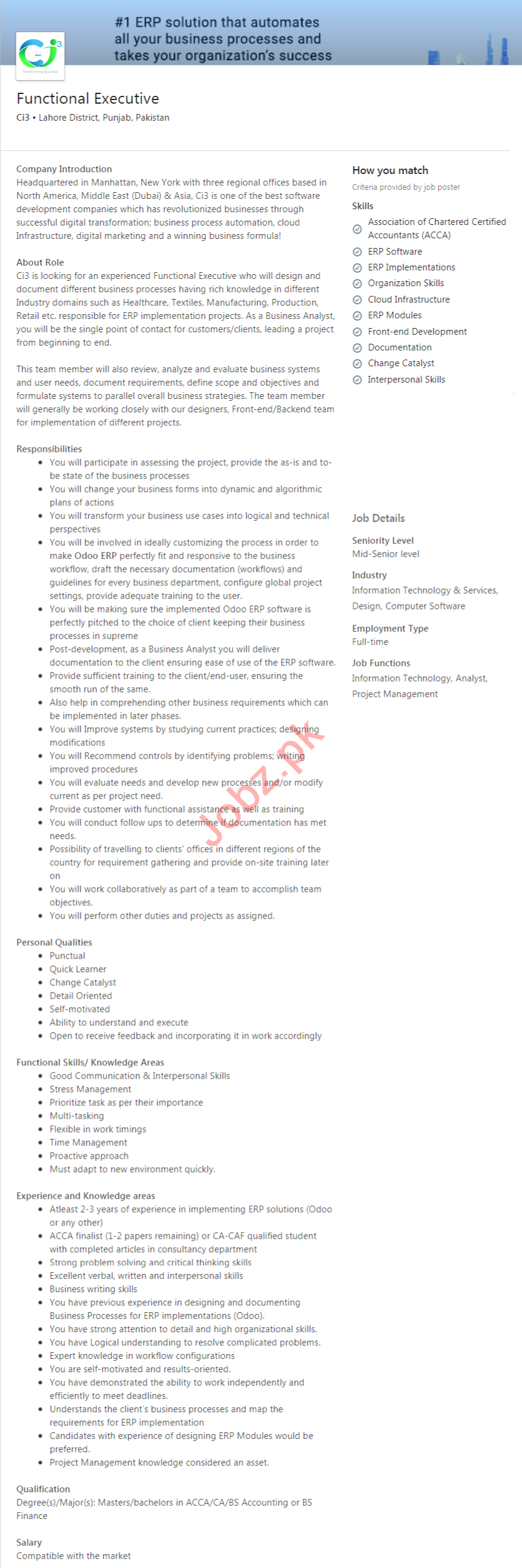 Ci3 Lahore Jobs 2020 for Functional Executive