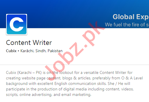 Cubix Karachi Jobs 2020 for Content Writer