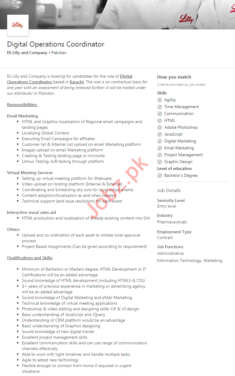Eli Lilly and Company Pakistan Jobs 2020 for Coordinator