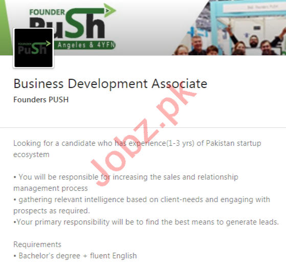 Founders PUSH Pakistan Jobs 2020 for Business Development