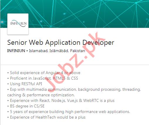 Infiniun Healthcare Islamabad Jobs Web Application Developer