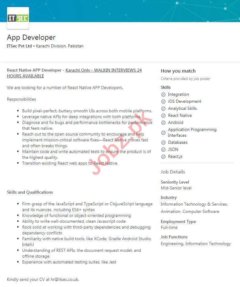 ITSec Karachi Jobs 2020 for App Developer