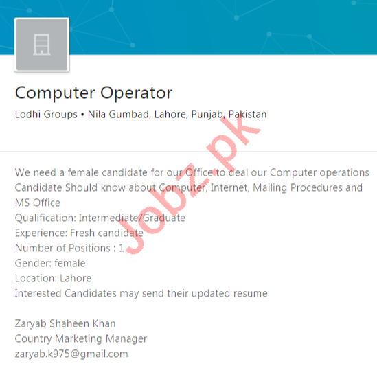 Lodhi Groups Lahore Jobs 2020 for Computer Operator