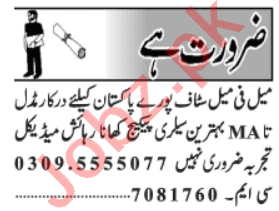 Male & Female Staff Jobs Career Opportunity in Lahore