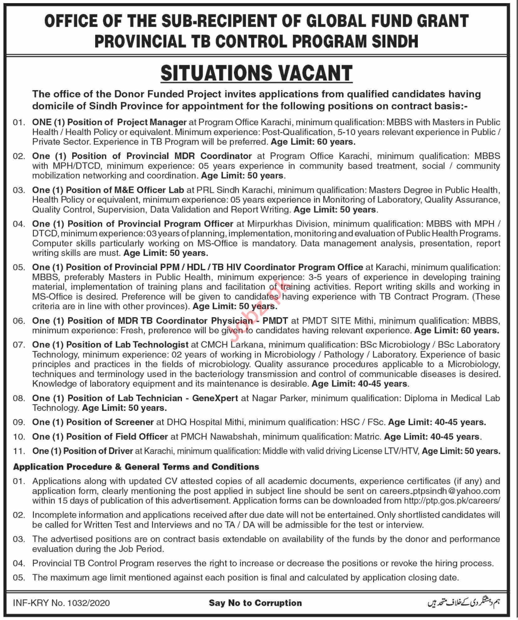 Provincial TB Control Program Sindh Jobs 2020