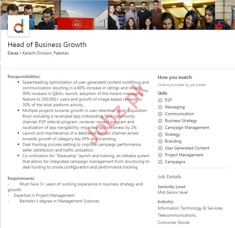 Daraz Karachi Jobs 2020 for Head of Business Growth