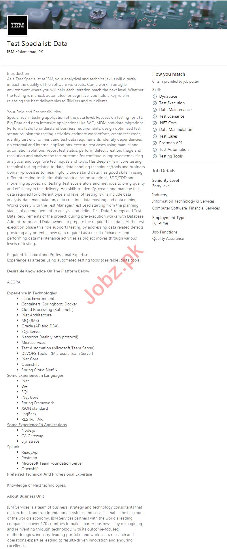 IBM Pakistan Jobs 2020 for Test Specialist
