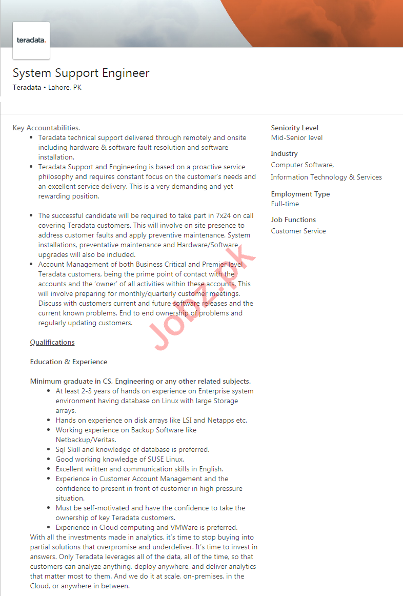 Teradata Lahore Jobs 2020 for System Support Engineer