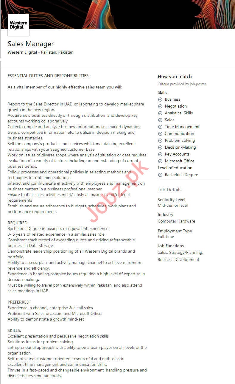 Western Digital Pakistan Jobs 2020 for Sales Manager