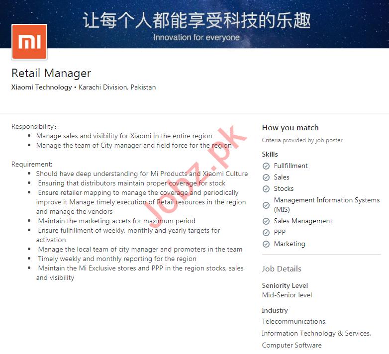 Xiaomi Technology Karachi Jobs 2020 for Retail Manager