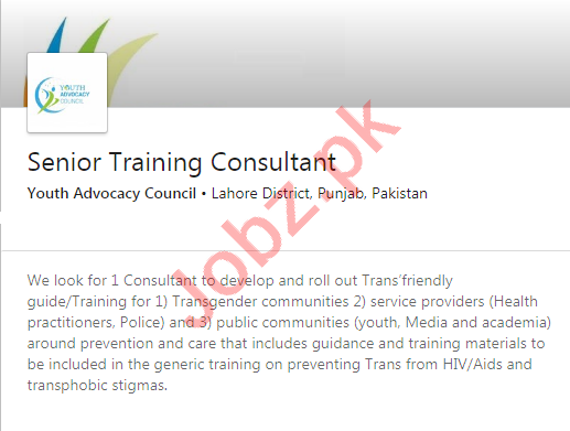 Youth Advocacy Council Lahore Jobs for Training Consultant