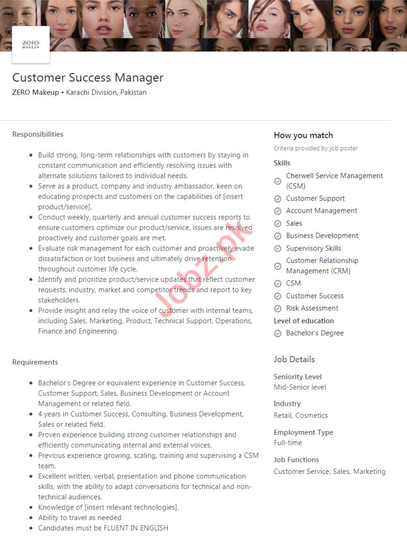 ZERO Makeup Pakistan Jobs 2020 Customer Success Manager