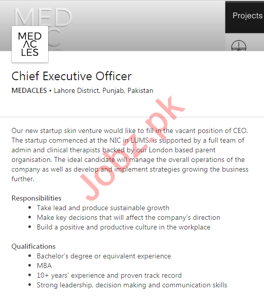 Medacles Lahore Jobs 2020 for Chief Executive Officer
