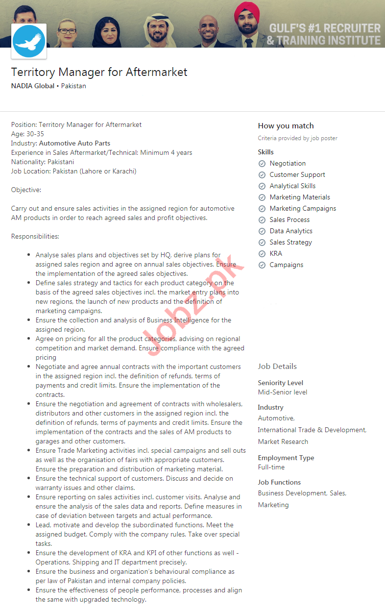 Nadia Global Pakistan Jobs 2020 for Territory Manager