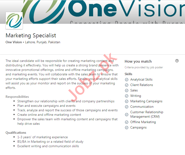 One Vision Lahore Jobs 2020 for Marketing Specialist