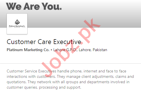 Platinum Marketing Co Jobs 2020 for Customer Care Executive