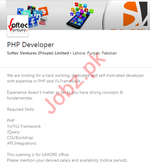 Softec Ventures Lahore Jobs 2020 for PHP Developer