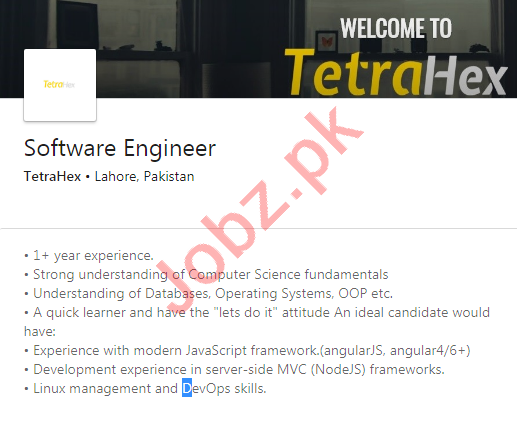 TetraHex Lahore Jobs 2020 for Software Engineer
