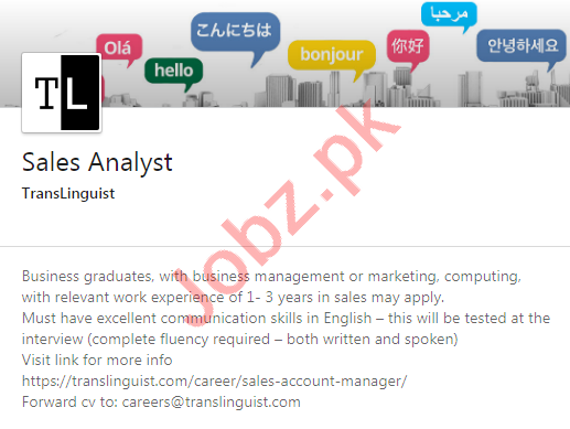 TransLinguist Islamabad Jobs 2020 for Sales Analyst
