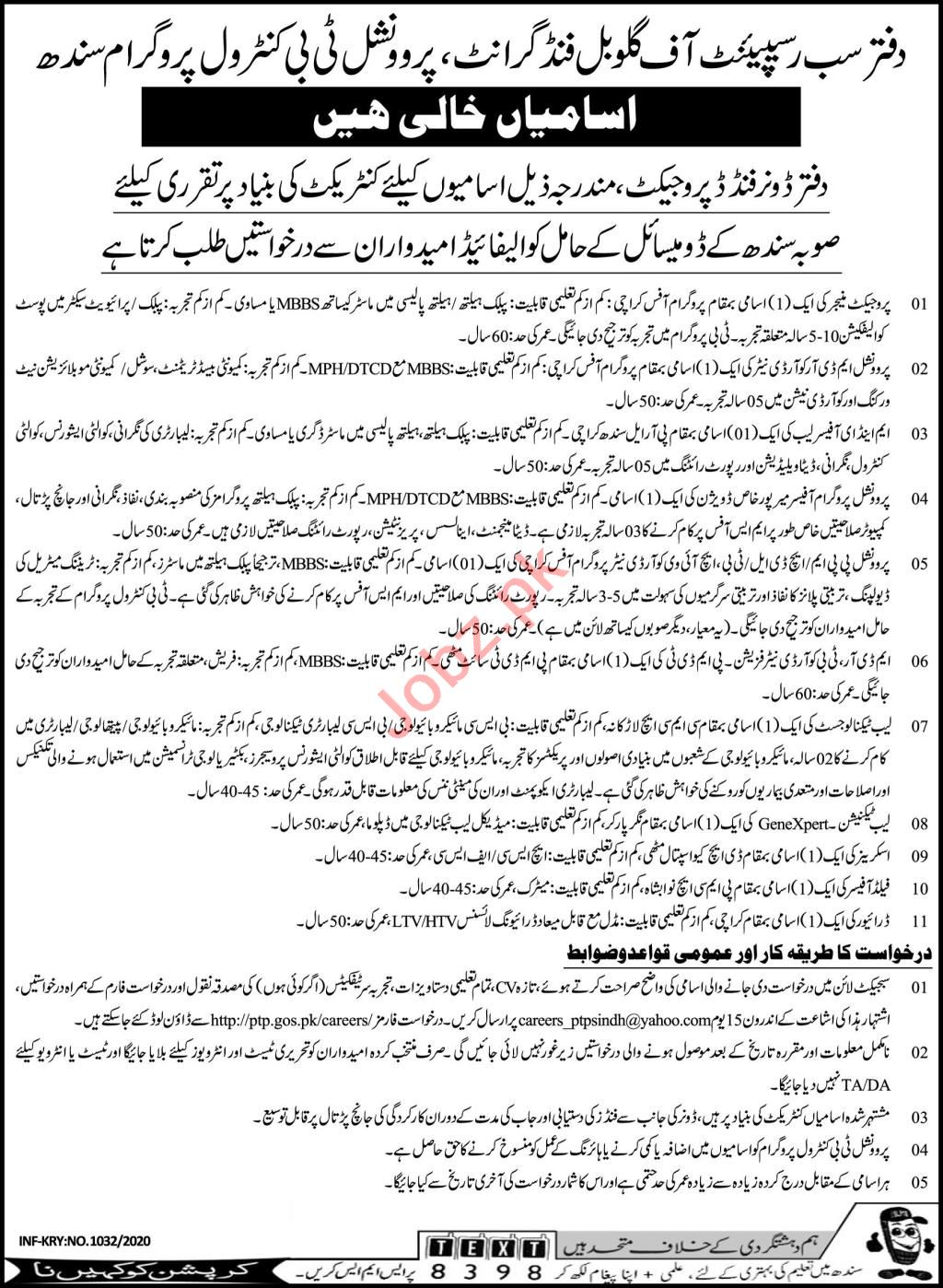 Health Department TB Control Program Sindh Jobs 2020