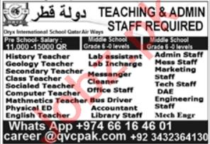 Teaching & Admin Staff Jobs 2020 in Qatar