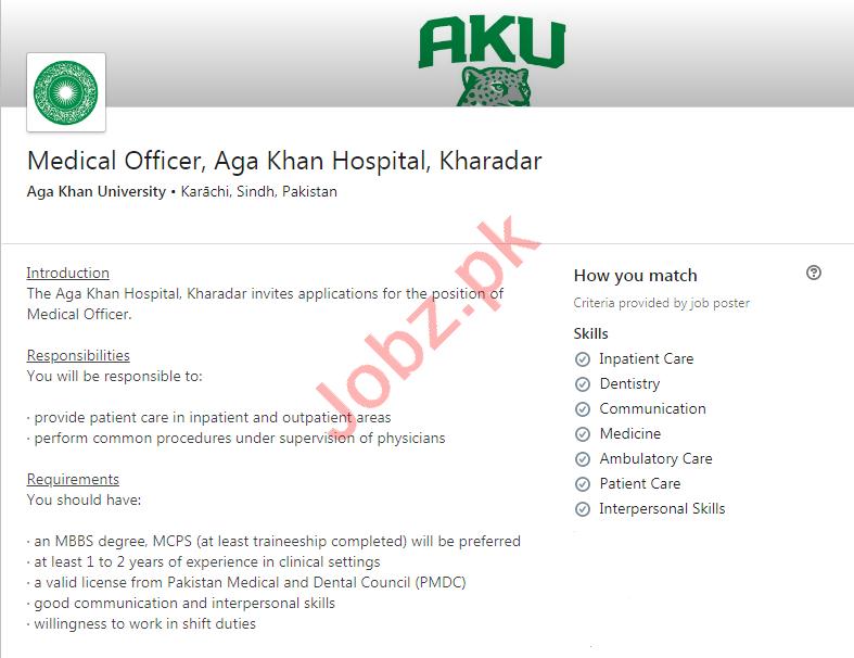 Aga Khan University Hospital Jobs 2020 for Medical Officer