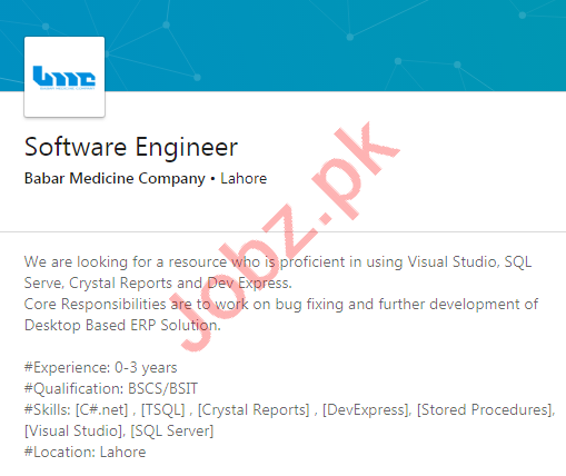 Babar Medicine Company Lahore Jobs for Software Engineer