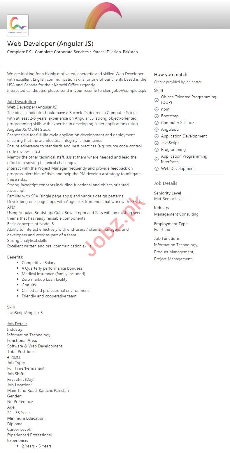 Complete Corporate Services Karachi Jobs 2020 Web Developer