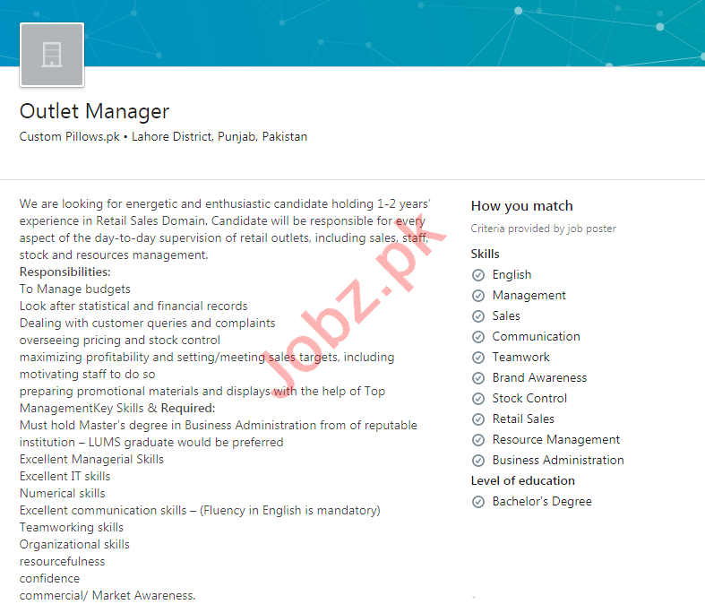 Custom Pillows Lahore Jobs 2020 for Outlet Manager