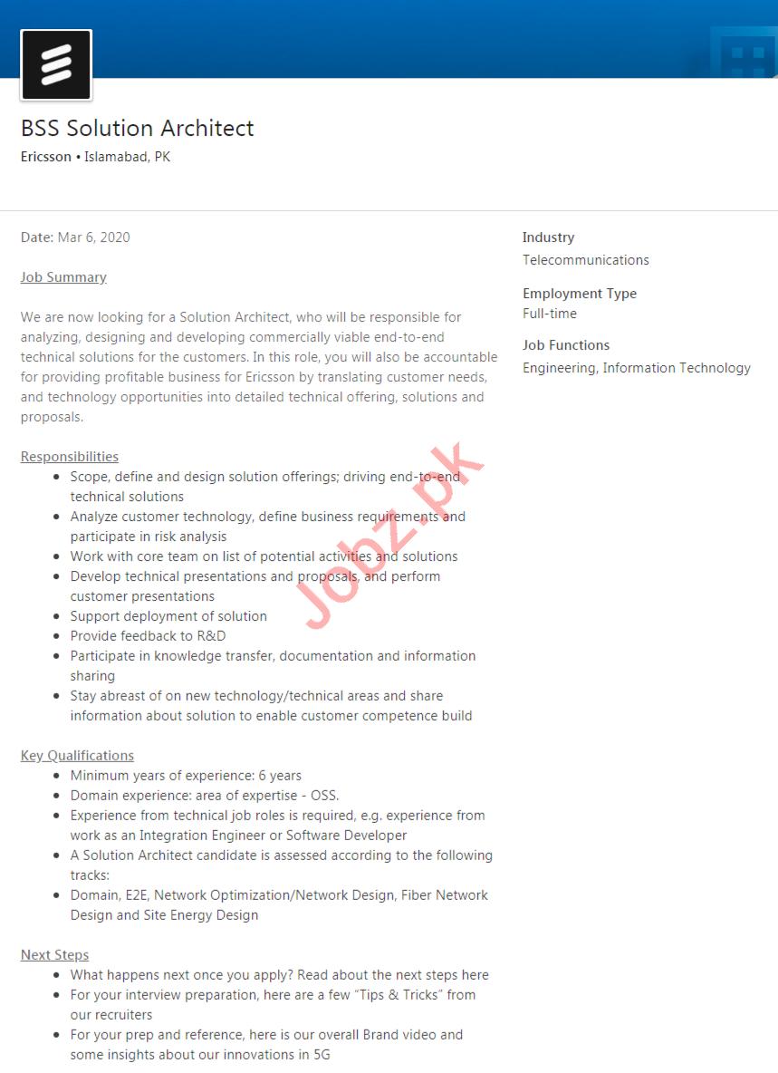 Ericsson Islamabad Jobs 2020 BSS Solution Architect