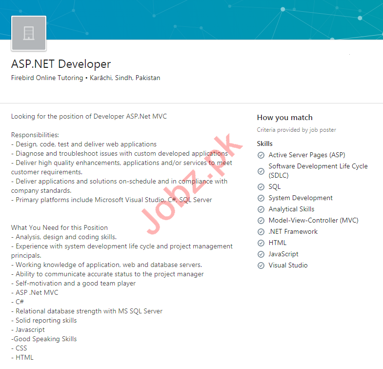 Firebird Karachi Jobs 2020 for ASP.NET Developer