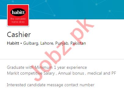 Habitt Gulberg Lahore Jobs 2020 for Cashier