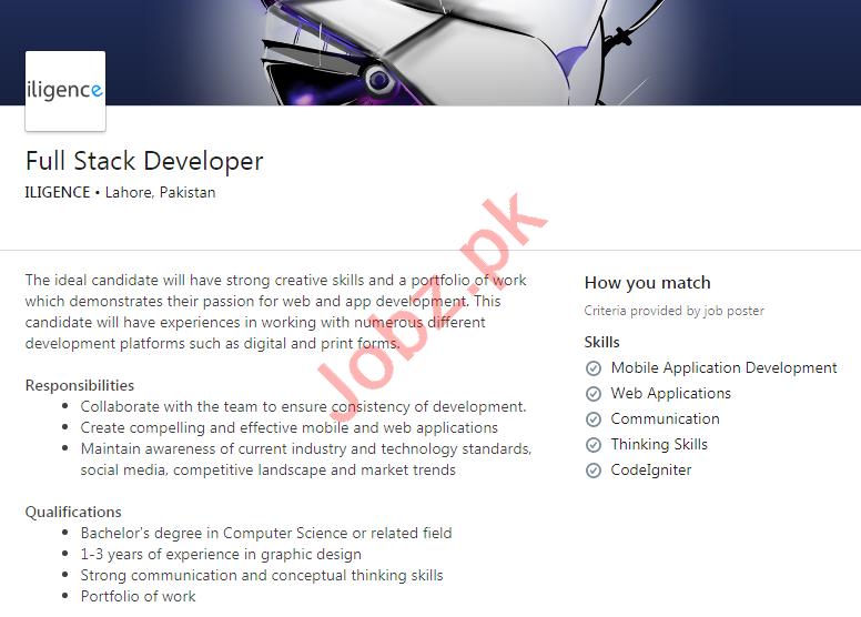 Iligence Lahore Jobs 2020 for Full Stack Developer