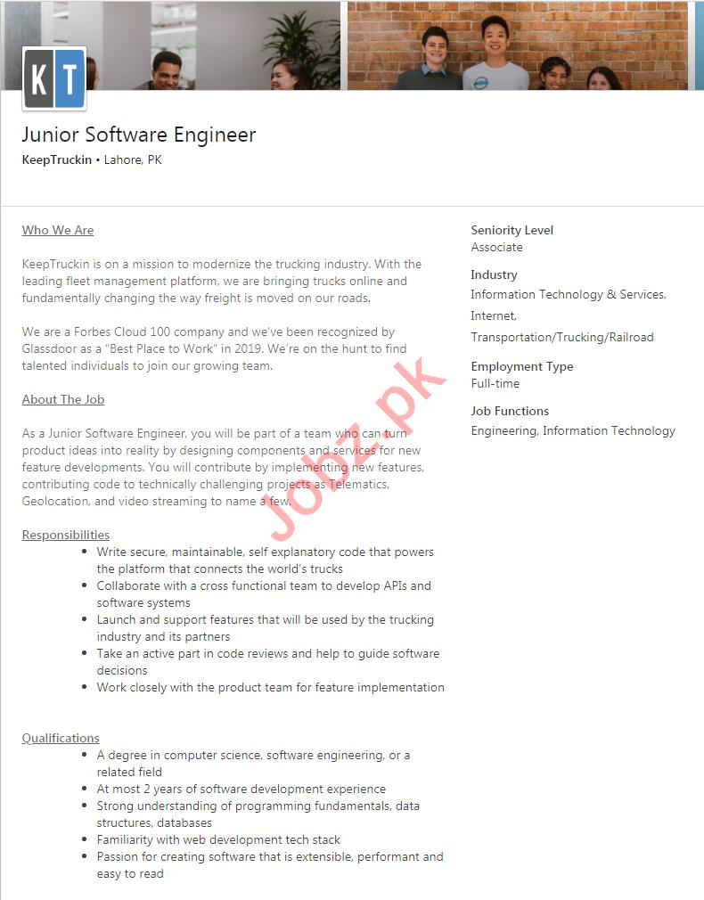 KeepTruckin Lahore Jobs 2020 for Junior Software Engineer