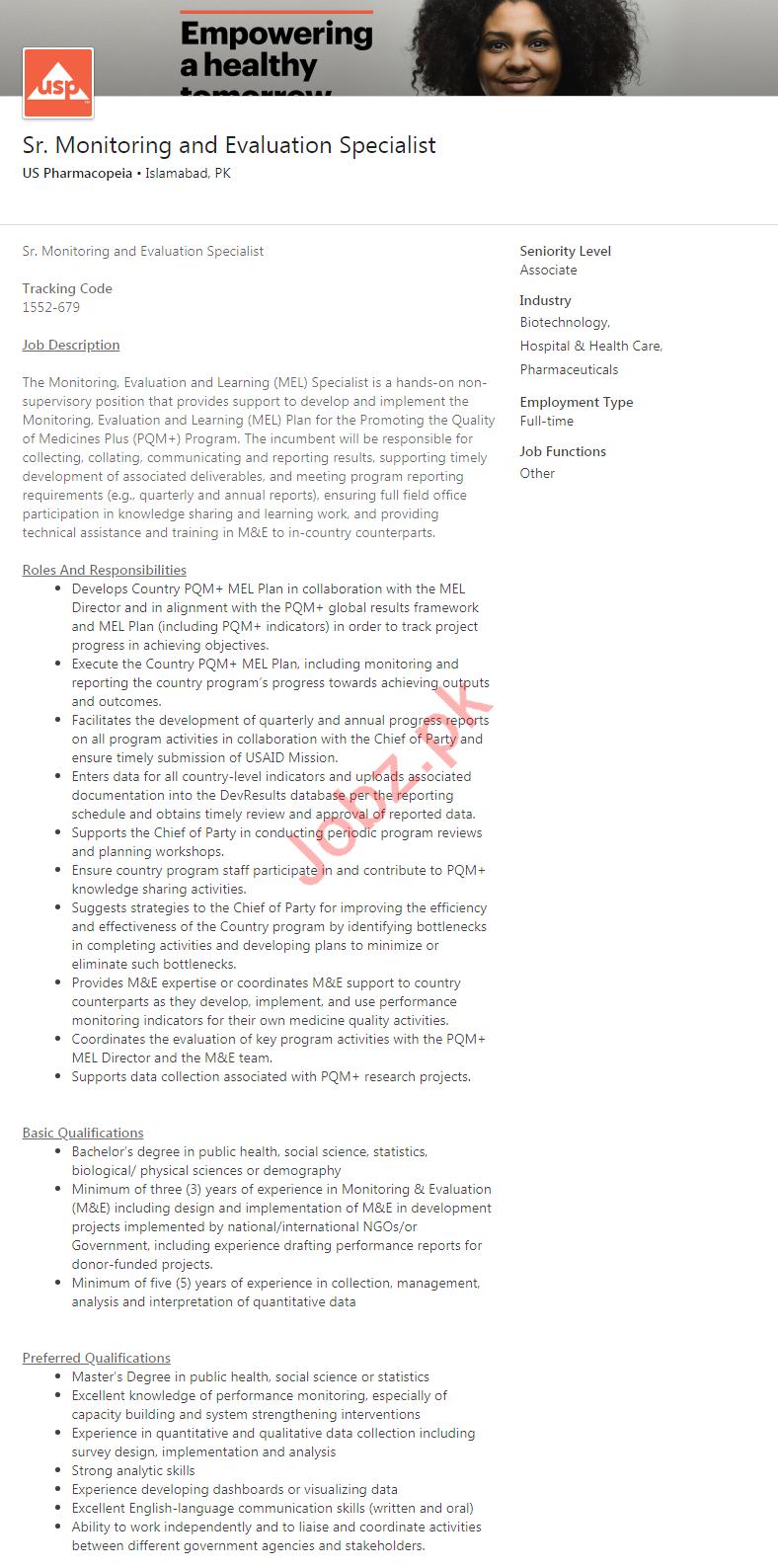US Pharmacopeia Islamabad Jobs 2020 for M&E Specialist