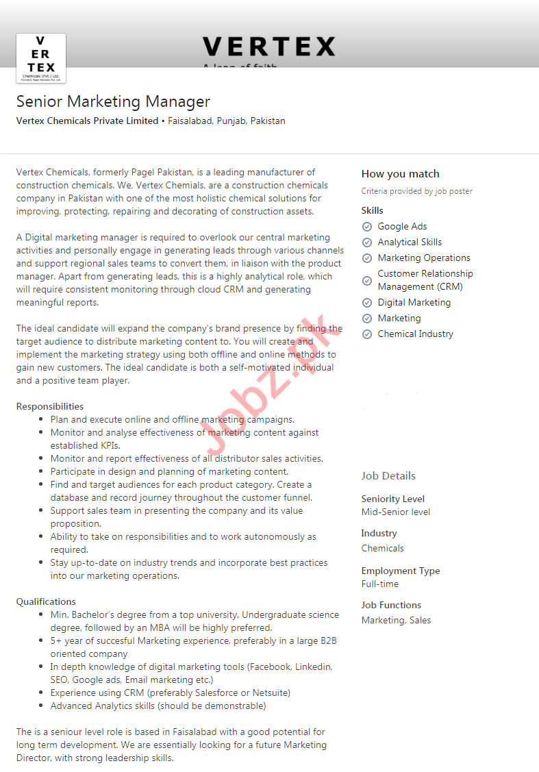 Vertex Chemicals Faisalabad Jobs 2020 for Marketing Manager