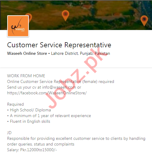 Waseeh Online Store Lahore Jobs 2020 for CSR