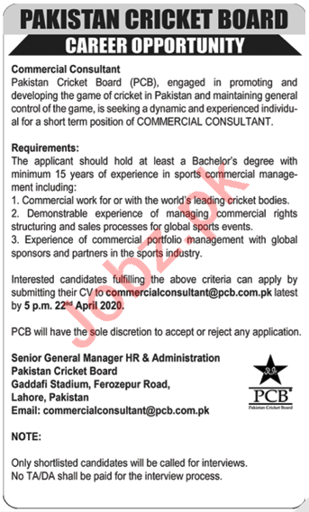 PCB Pakistan Cricket Board Jobs 2020 Commercial Consultant