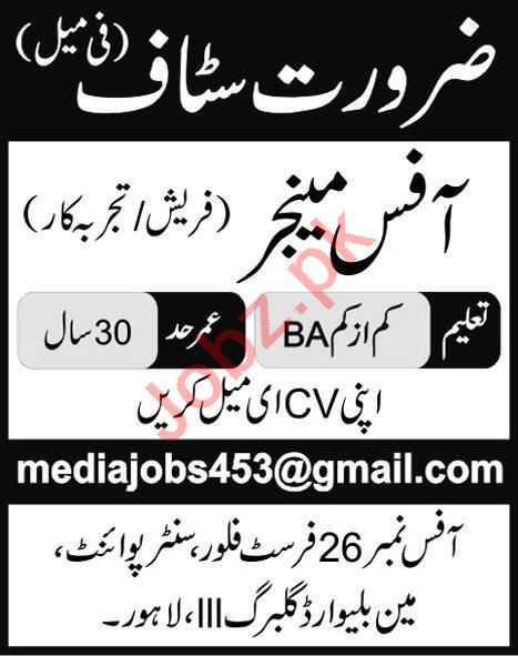 Female Office Manager Jobs Career Opportunity in Lahore