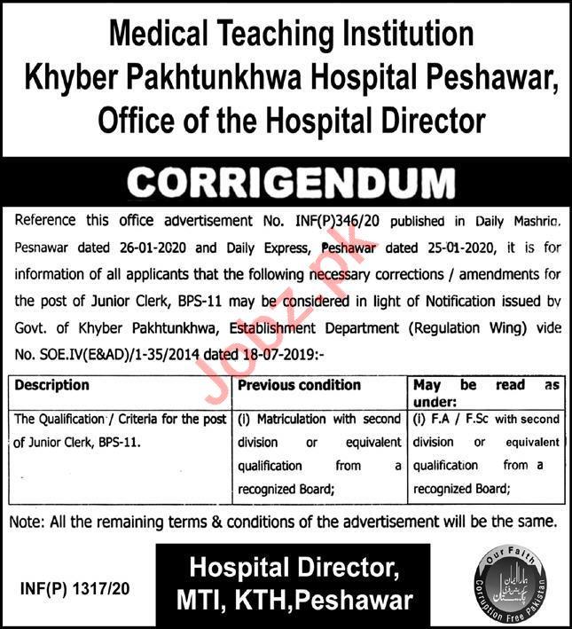 MTI Khyber Teaching Hospital KTH Peshawar Jobs 2020