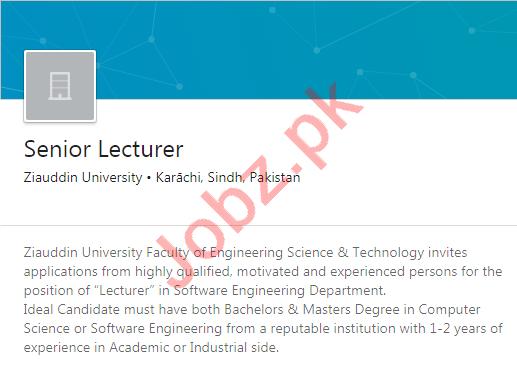 Ziauddin University Karachi Jobs 2020 for Lecturer