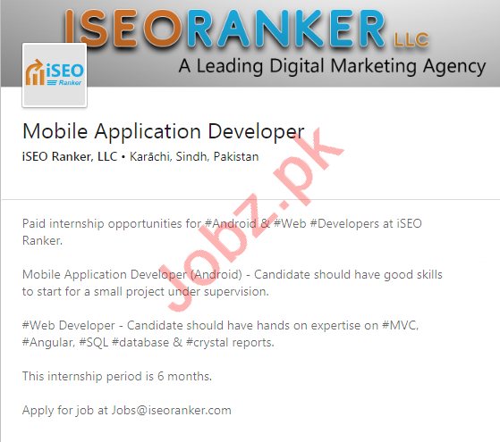 Mobile Application Developer Jobs in iSEO Ranker LLC Karachi